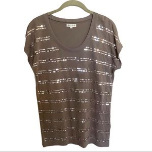 Reiss Gray Sequin Striped Top Size Small